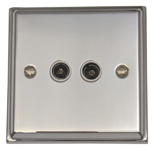 G&H DC36W Deco Plate Polished Chrome 2 Gang TV Coax Socket Point